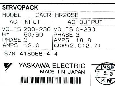 New Refurbished Exchange Repair  Yaskawa Drives-AC Servo CACR-HR20SB Precision Zone