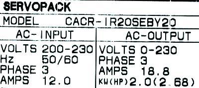 New Refurbished Exchange Repair  Yaskawa Drives-AC Servo CACR-IR20SEB-Y20 Precision Zone