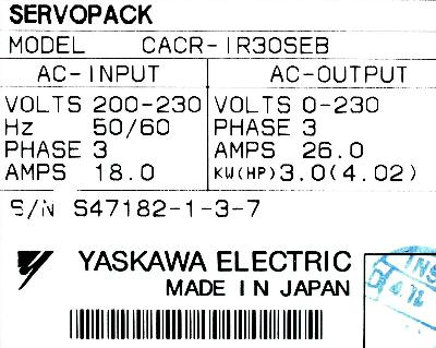 New Refurbished Exchange Repair  Yaskawa Drives-AC Servo CACR-IR30SEB Precision Zone