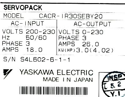 New Refurbished Exchange Repair  Yaskawa Drives-AC Servo CACR-IR30SEB-Y20 Precision Zone