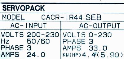 New Refurbished Exchange Repair  Yaskawa Drives-AC Servo CACR-IR44SEB Precision Zone