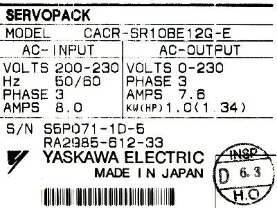 New Refurbished Exchange Repair  Yaskawa Drives-AC Servo CACR-SR10BE12G-E Precision Zone