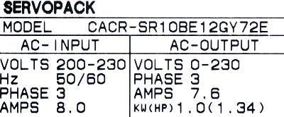 New Refurbished Exchange Repair  Yaskawa Drives-AC Servo CACR-SR10BE12G-Y72E Precision Zone