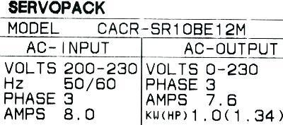 New Refurbished Exchange Repair  Yaskawa Drives-AC Servo CACR-SR10BE12M Precision Zone