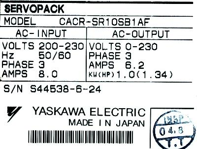New Refurbished Exchange Repair  Yaskawa Drives-AC Servo CACR-SR10SB1AF Precision Zone