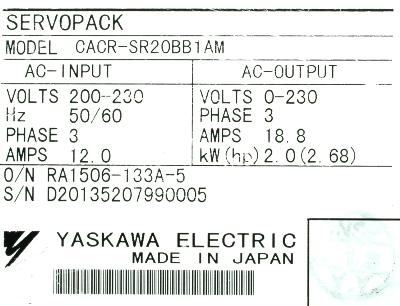 New Refurbished Exchange Repair  Yaskawa Drives-AC Servo CACR-SR20BB1AM Precision Zone