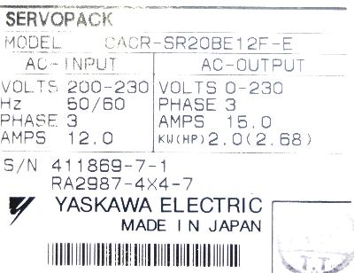 New Refurbished Exchange Repair  Yaskawa Drives-AC Servo CACR-SR20BE12F-E Precision Zone