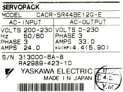 New Refurbished Exchange Repair  Yaskawa Drives-AC Servo CACR-SR44BE12G-E Precision Zone