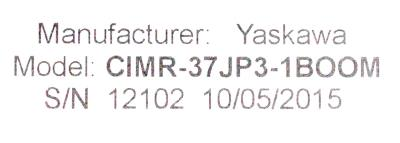 New Refurbished Exchange Repair  Yaskawa Inverter-Turret CIMR-37JP3-1BOOM Precision Zone