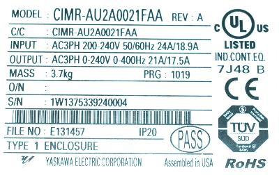 New Refurbished Exchange Repair  Yaskawa Inverter-General Purpose CIMR-AU2A0021FAA Precision Zone