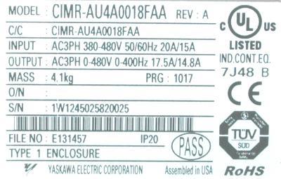 New Refurbished Exchange Repair  Yaskawa Inverter-General Purpose CIMR-AU4A0018FAA Precision Zone