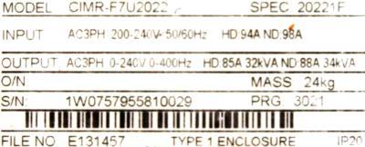 New Refurbished Exchange Repair  Yaskawa Inverter-General Purpose CIMR-F7U2022 Precision Zone