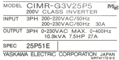 New Refurbished Exchange Repair  Yaskawa Inverter-General Purpose CIMR-G3V25P5 Precision Zone