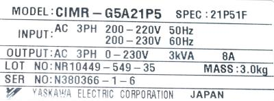New Refurbished Exchange Repair  Yaskawa Inverter-General Purpose CIMR-G5A21P5 Precision Zone