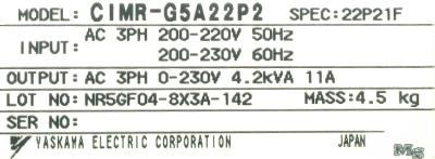 New Refurbished Exchange Repair  Yaskawa Inverter-General Purpose CIMR-G5A22P2 Precision Zone