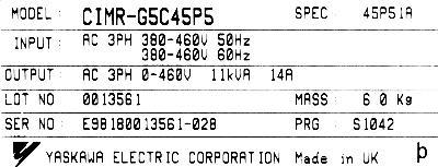 New Refurbished Exchange Repair  Yaskawa Inverter-General Purpose CIMR-G5C45P5 Precision Zone