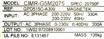 New Refurbished Exchange Repair  Yaskawa Inverter-General Purpose CIMR-G5M2075 Precision Zone