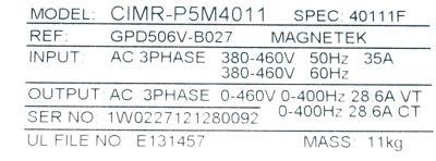 New Refurbished Exchange Repair  Yaskawa Inverter-General Purpose CIMR-G5M4011 Precision Zone