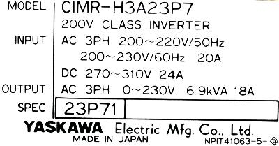 New Refurbished Exchange Repair  Yaskawa Inverter-General Purpose CIMR-H3A23P7 Precision Zone