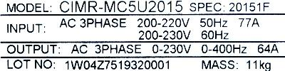 New Refurbished Exchange Repair  Yaskawa Inverter-General Purpose CIMR-MC5U2015 Precision Zone