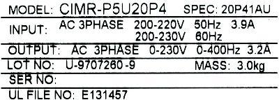 New Refurbished Exchange Repair  Yaskawa Inverter-General Purpose CIMR-P5U20P4 Precision Zone
