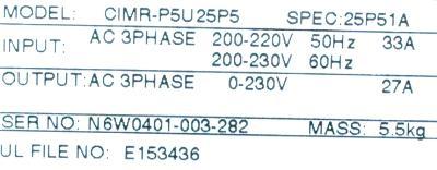 New Refurbished Exchange Repair  Yaskawa Inverter-General Purpose CIMR-P5U25P5 Precision Zone