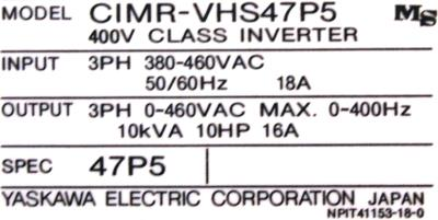 New Refurbished Exchange Repair  Yaskawa Inverter-General Purpose CIMR-VHS47P5 Precision Zone