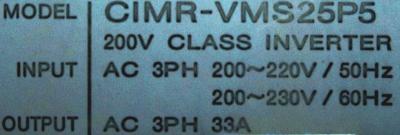 New Refurbished Exchange Repair  Yaskawa Drives-AC Spindle CIMR-VMS25P5 Precision Zone