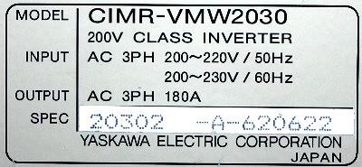 New Refurbished Exchange Repair  Yaskawa Drives-AC Spindle CIMR-VMW2030 Precision Zone