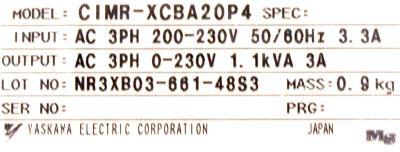 New Refurbished Exchange Repair  Yaskawa Inverter-General Purpose CIMR-XCBA20P4 Precision Zone