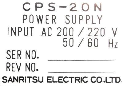 New Refurbished Exchange Repair  Sanritsu Electric Co. Ltd. Part of machine CPS-20N Precision Zone