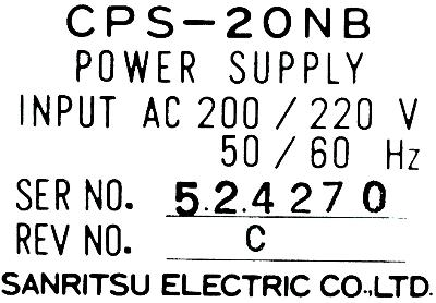 New Refurbished Exchange Repair  Sanritsu Electric Co. Ltd. Part of machine CPS-20NB Precision Zone