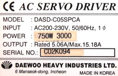 New Refurbished Exchange Repair  Daewoo Drives-AC Servo DASD-C05SPCA Precision Zone