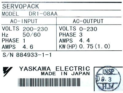 New Refurbished Exchange Repair  Yaskawa Drives-AC Servo DR1-08AA Precision Zone