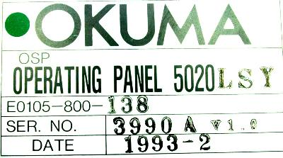 New Refurbished Exchange Repair  Okuma Operating Panel E0105-800-138 Precision Zone