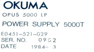 New Refurbished Exchange Repair  Okuma Part of machine E0451-521-029 Precision Zone