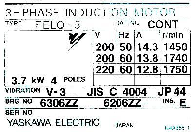 New Refurbished Exchange Repair  Yaskawa Motors-General Purpose FELQ-5 Precision Zone