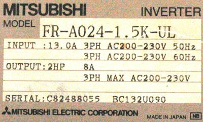 New Refurbished Exchange Repair  Mitsubishi Inverter-General Purpose FR-A024-1.5K-UL Precision Zone