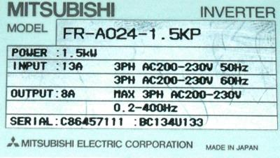 New Refurbished Exchange Repair  Mitsubishi Inverter-General Purpose FR-A024-1.5KP Precision Zone