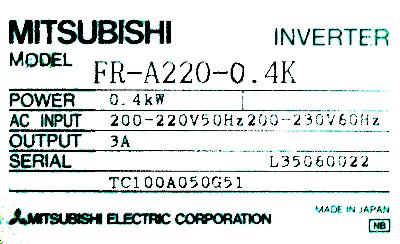 New Refurbished Exchange Repair  Mitsubishi Inverter-General Purpose FR-A220-0.4K Precision Zone