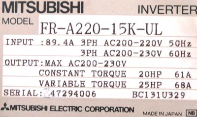 New Refurbished Exchange Repair  Mitsubishi Inverter-General Purpose FR-A220-15K-UL Precision Zone