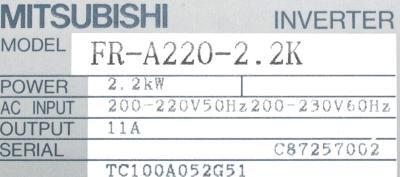 New Refurbished Exchange Repair  Mitsubishi Inverter-General Purpose FR-A220-2.2K Precision Zone