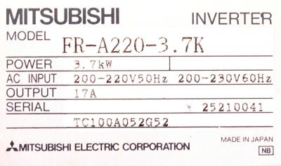 New Refurbished Exchange Repair  Mitsubishi Inverter-General Purpose FR-A220-3.7K Precision Zone