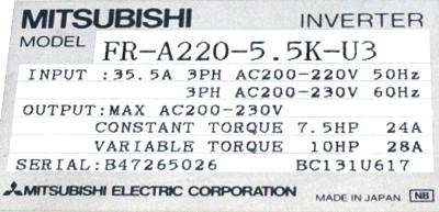New Refurbished Exchange Repair  Mitsubishi Inverter-General Purpose FR-A220-5.5K-U3 Precision Zone