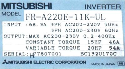 New Refurbished Exchange Repair  Mitsubishi Inverter-General Purpose FR-A220E-11K-UL Precision Zone