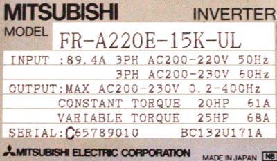 New Refurbished Exchange Repair  Mitsubishi Inverter-General Purpose FR-A220E-15K-UL Precision Zone