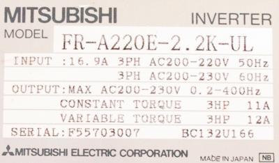 New Refurbished Exchange Repair  Mitsubishi Inverter-General Purpose FR-A220E-2.2K-UL Precision Zone