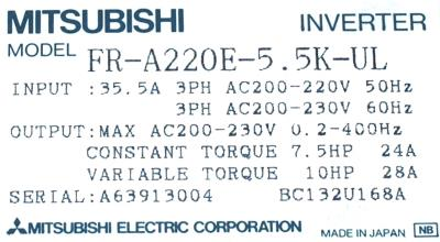 New Refurbished Exchange Repair  Mitsubishi Inverter-General Purpose FR-A220E-5.5K-UL Precision Zone