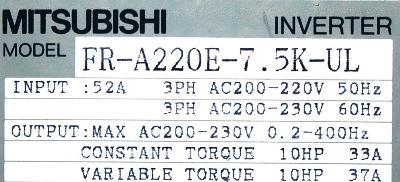 New Refurbished Exchange Repair  Mitsubishi Inverter-General Purpose FR-A220E-7.5K-UL Precision Zone