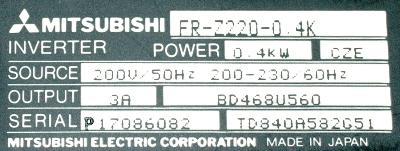 New Refurbished Exchange Repair  Mitsubishi Inverter-General Purpose FR-Z220-0.4K Precision Zone